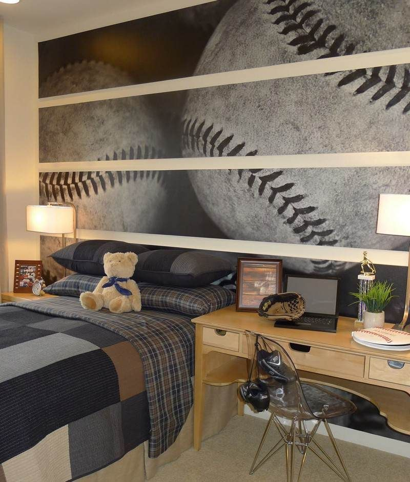 Wandgestaltung im Kinderzimmer - Baseball an der Wand new house
