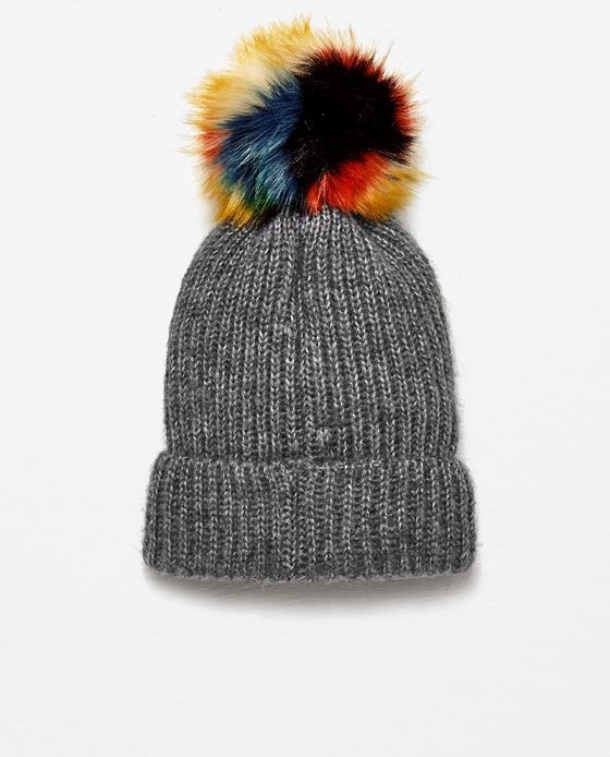 Image 4 of RIB KNIT HAT WITH POM-POM from Zara  4bf4f60c0b9
