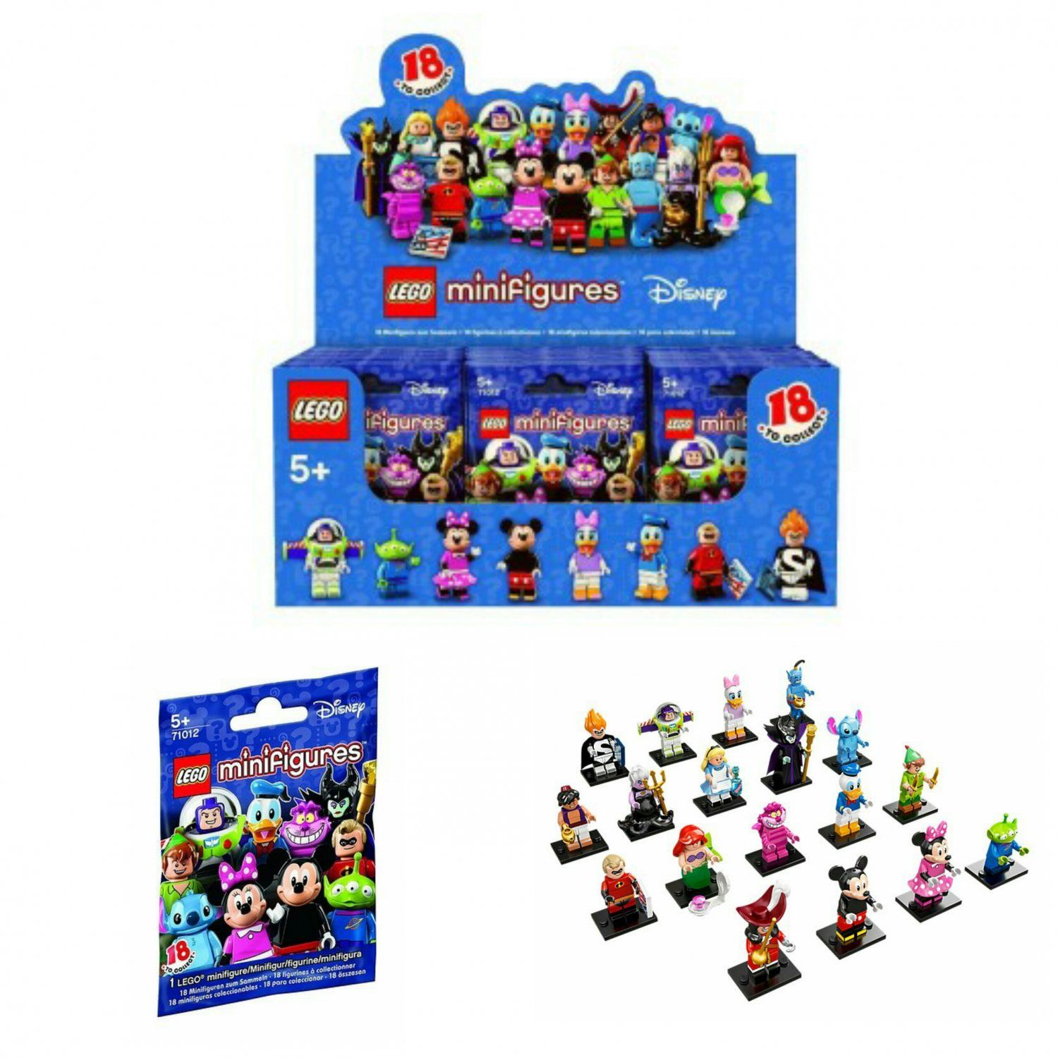 Lego Minifigures The Disney Series Mystery Blind Bag Building Toy Full Case of ×60 Sealed Packs #71012
