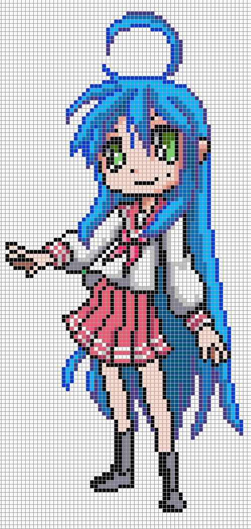Konata Izumi from Lucky Star | Pixel Art | Pinterest | Punto de cruz ...