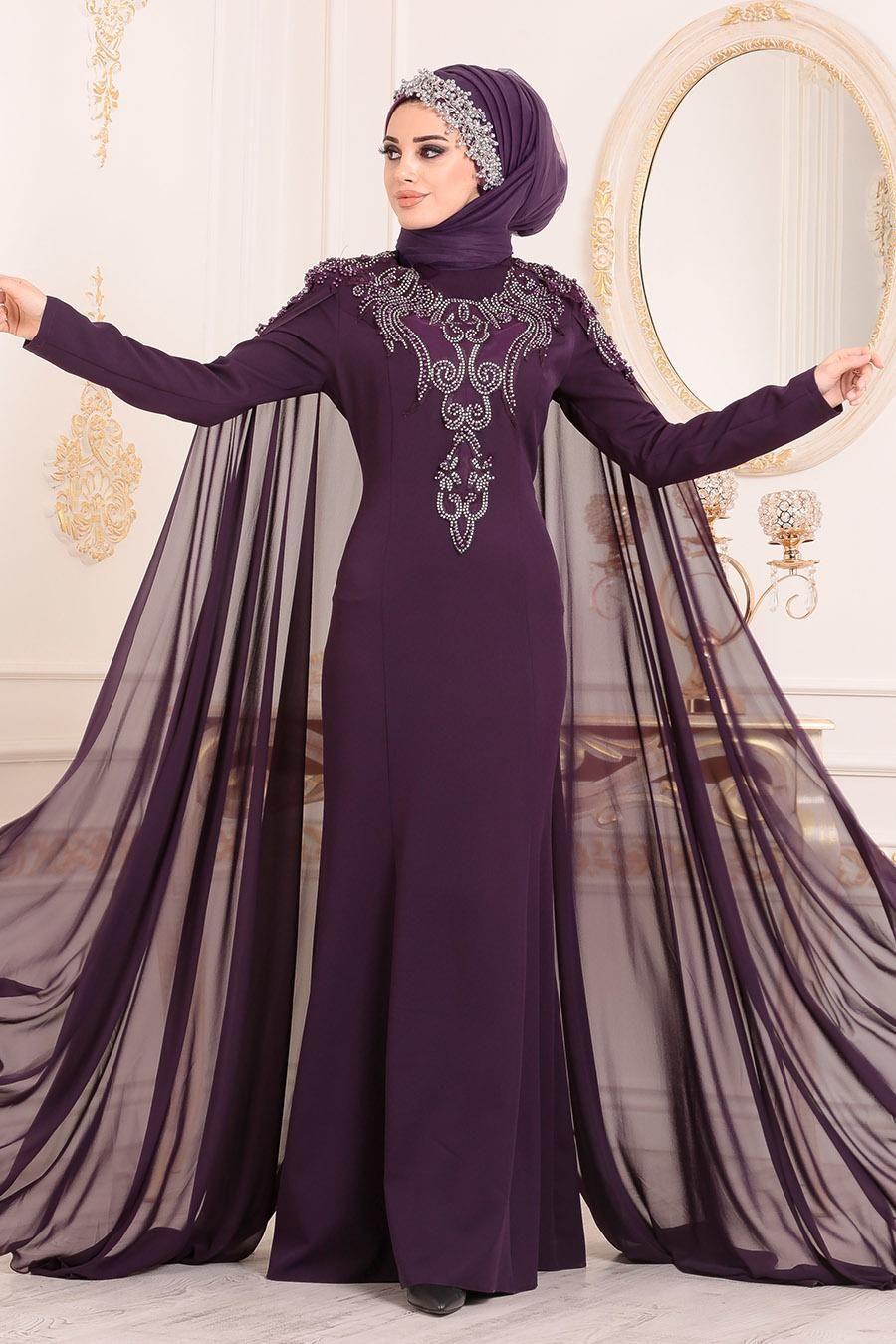 Nayla Collection Tas Islemeli Pelerinli Mor Tesettur Abiye Elbise 25738mor Tesetturisland Com Elbise Moda Stilleri Giyim