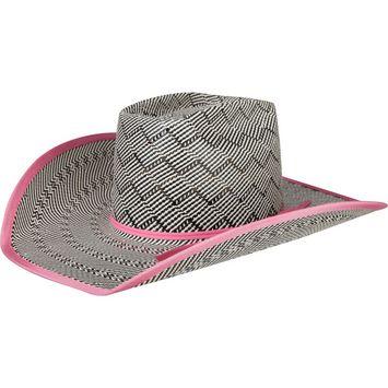 Black   White American Hat Co.Pink Band   Bound Edge Straw Cowboy ... 2ff06cacbbc8