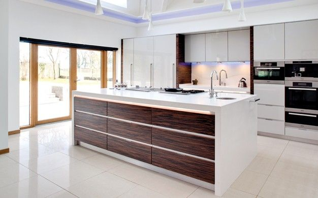 Evolve Stone with contrasting drawer fronts in Macassar | Kitchens ...