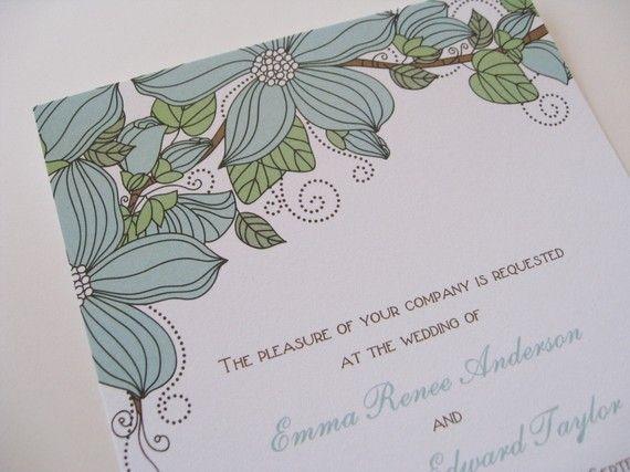 Flower Wedding Invitations by Whimsicalprints on Etsy, $2.50