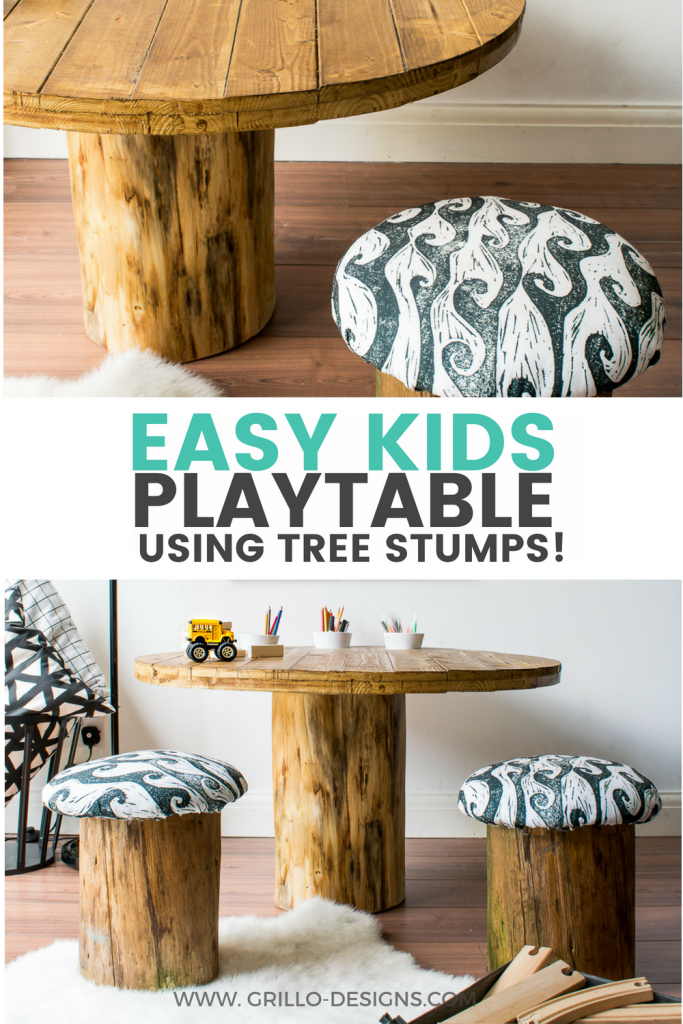 How To Build A Tree Trunk Table With Spoonflower Diy Kids Table Tree Trunk Table Trunk Table