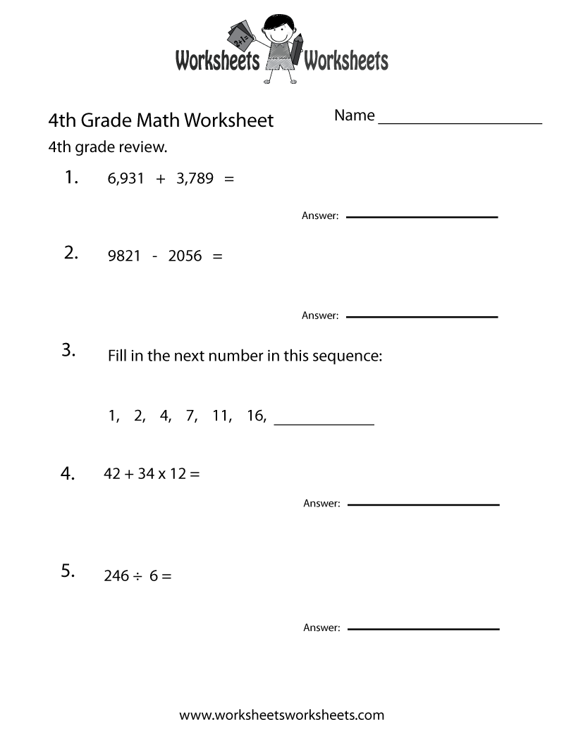 4th Grade Math Review Worksheet - Free Printable Educational Worksheet    Math review worksheets [ 1035 x 800 Pixel ]