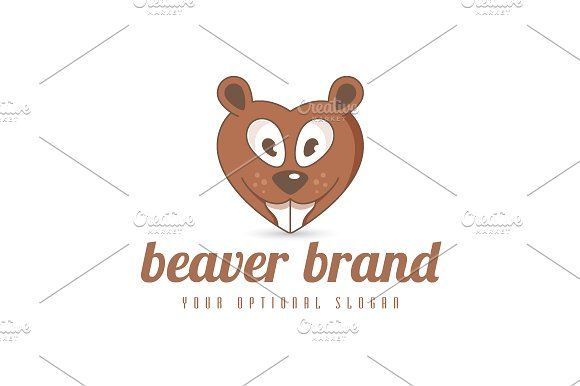 For sale. Only $29 - brown, memorable, illustration, cartoon, head, animal, beaver, love, heart, mascot, smile, teeth, character, gift, wood, happy, expression, face, silly, dating, pet, dentist, dental, fun, logo, design, template,