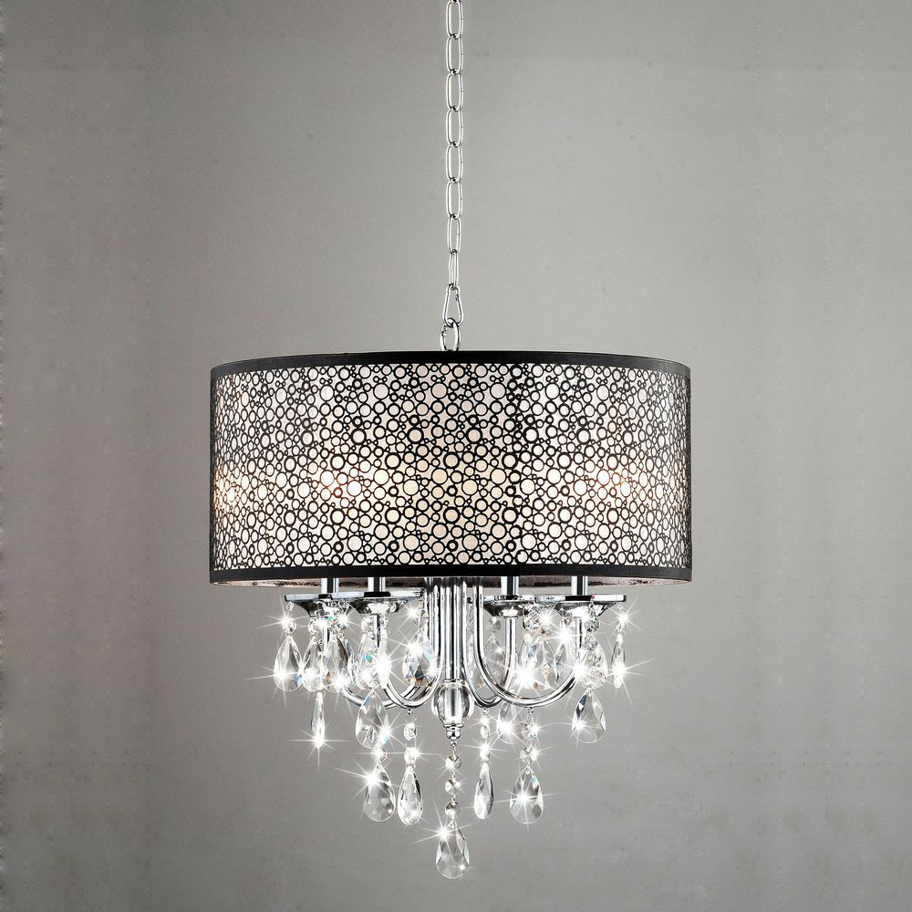 Indoor 4-light Chrome/ Crystal/ Metal Bubble Shade Chandelier ...