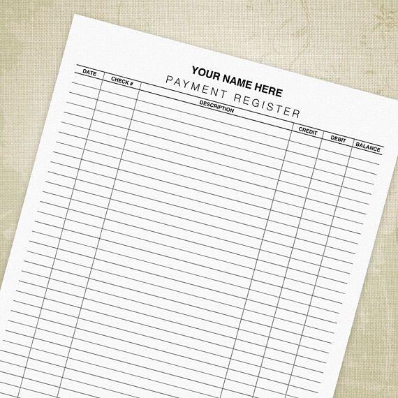 Payment Register Form PDF, Checkbook Register, Ledger, Check