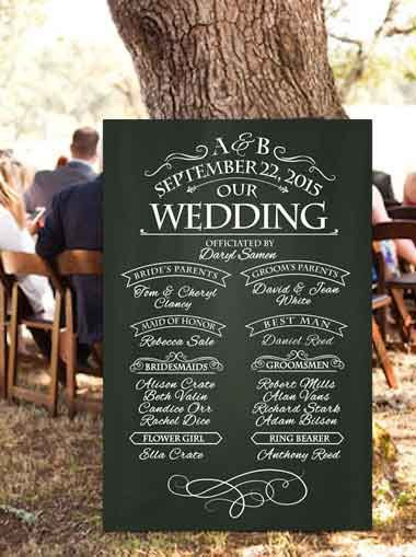 chalkboard wedding program sign printable wedding program sign