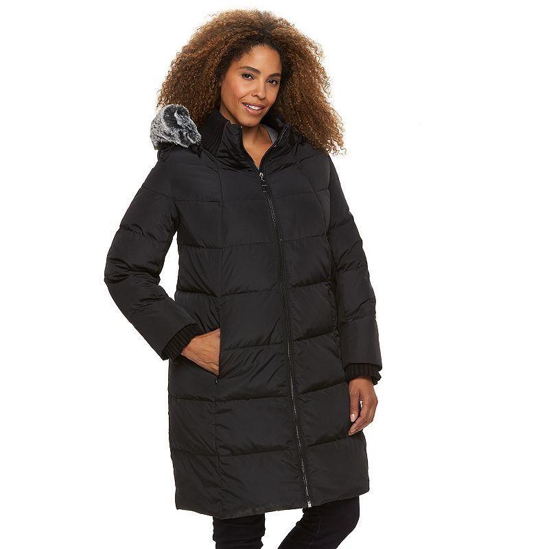 Plus Size Gallery Hooded Puffer Down Puffer Jacket, Women's, Size: 2XL, Black