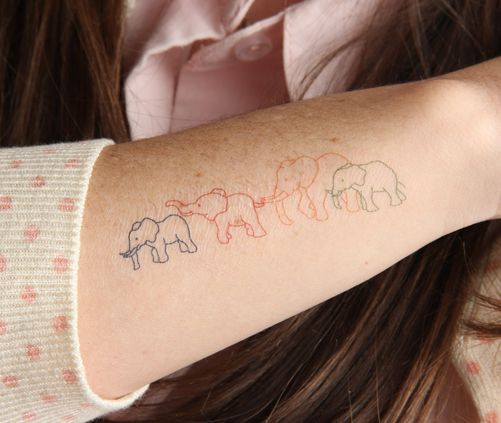 Elephant Family - temporary tattoo $5