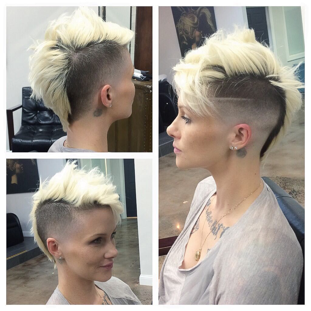 Messy Platinum Mohawk with Fade and Shaved Side Detail   Short ...