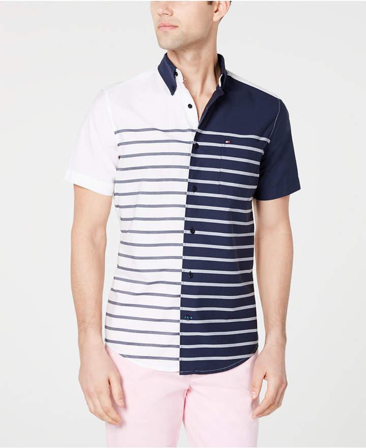 380ab6e82 Tommy Hilfiger Men s Aldrich Custom Fit Striped Shirt - Blue S in ...