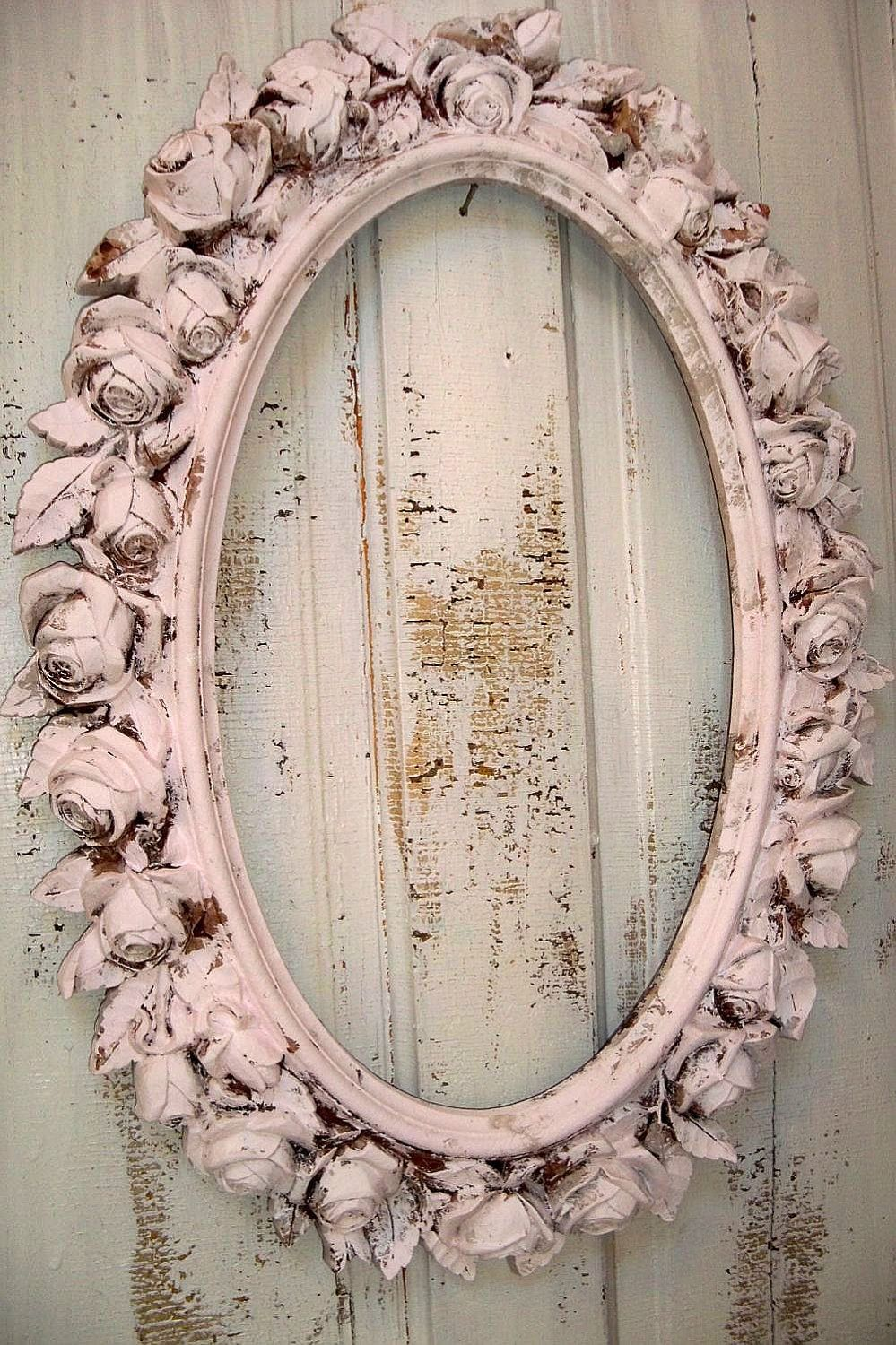 Large ornate frame with roses vintage shabby chic oval distressed ...