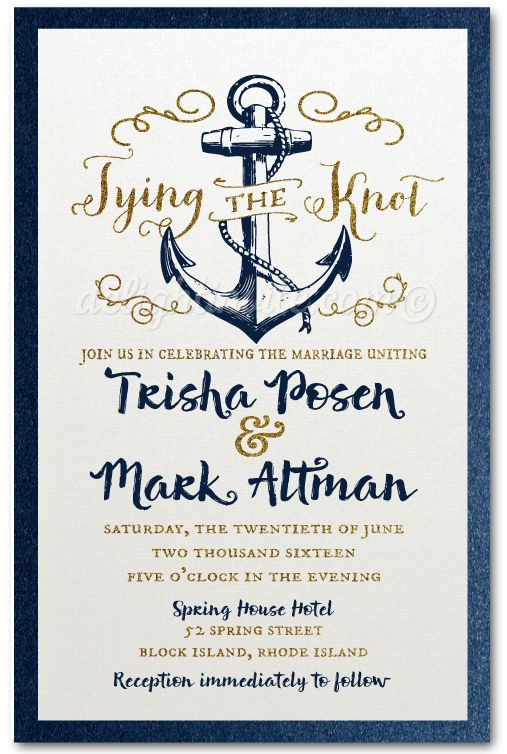 Rustic Anchor Tie The Knot Wedding Invitation Expertly Printed On Gorgeous Metallic Paper And Artfully