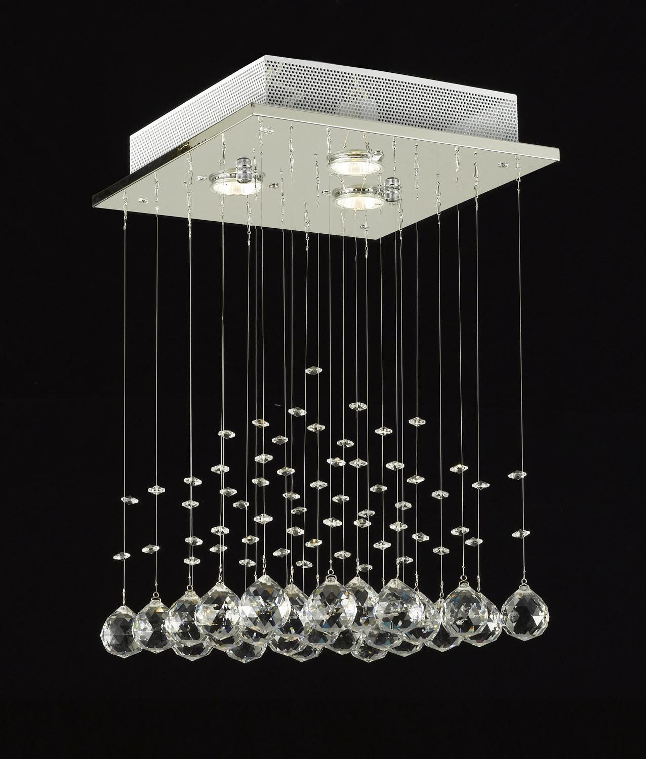 Modern Chandelier Rain Drop Lighting Crystal Ball Fixture Pendant Ceiling Lamp H18 X W12 3