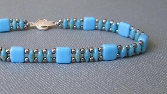 Girls Beaded Bracelet Gift Ideas for Her Turquoise and Rose Gold Bracelet Light Blue Beads Bracelet Dainty Bracelet Turquoise Bracelet