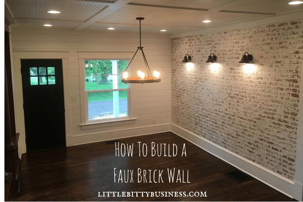 Home Renovation Little Bitty Business Faux Brick Wall How To Diy Shiplap Alternative Barn