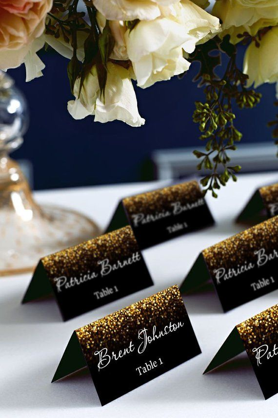 Photo of Black and Gold Glitter Tent Wedding Place Card, Place Cards, Avery 5302 DIY Place Card Printable, code-024-1