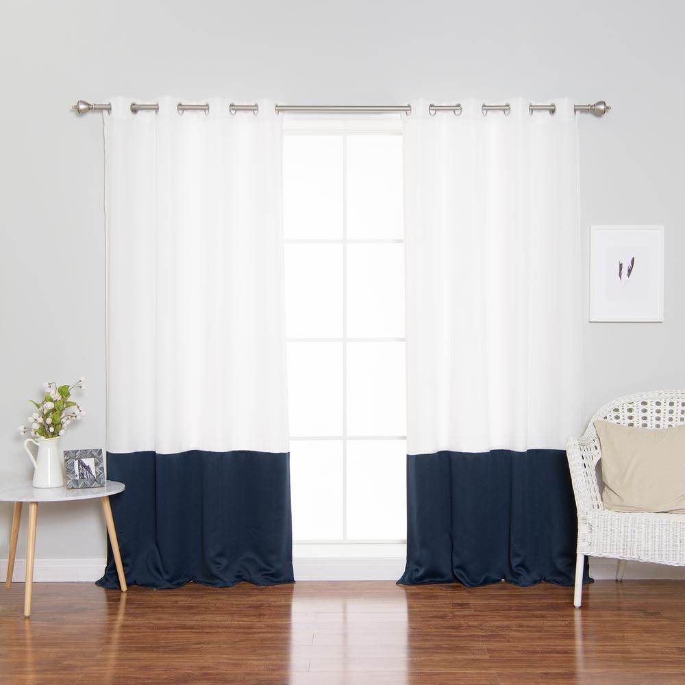 Best Home Fashion 96 In L Polyester Oxford Navy Colorblock