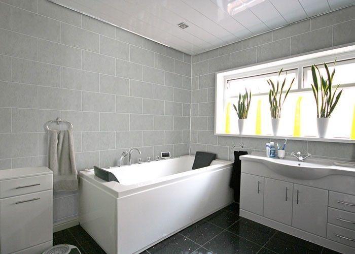 8 Grey Tile Effect Wall Panels Bathroom Kitchen Shower Upvc Cladding Bathroom Cladding Pvc Bathroom Panels Light Grey Bathrooms