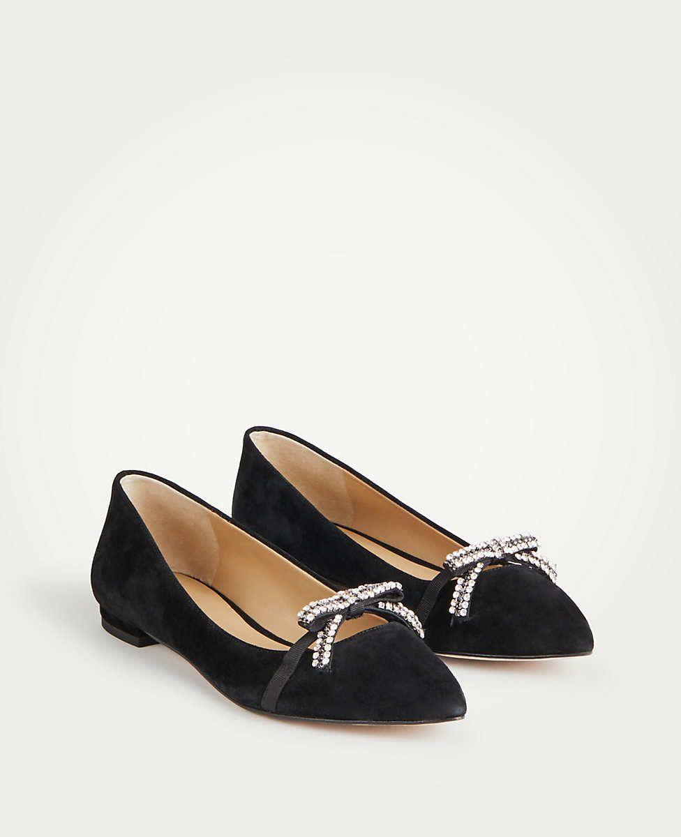 282edf12560 Lorelai Crystal Bow Leather Flats