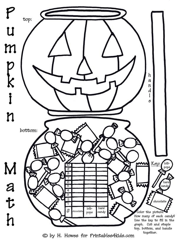 Halloween Pumpkin Trick or Treat Math Graph Activity : Printables for Kids – free word search puzzles, coloring pages, and other activities