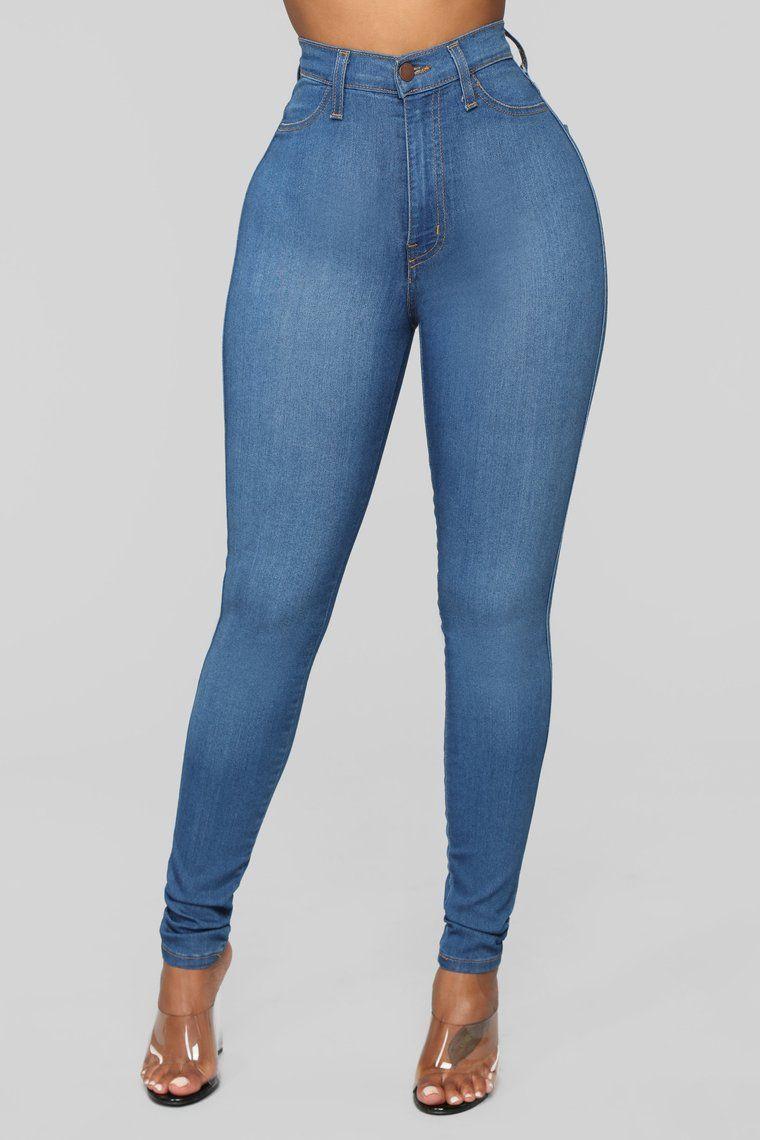 Classic High Waist Skinny Jeans - Medium Blue Wash  a3dfd44f980b9