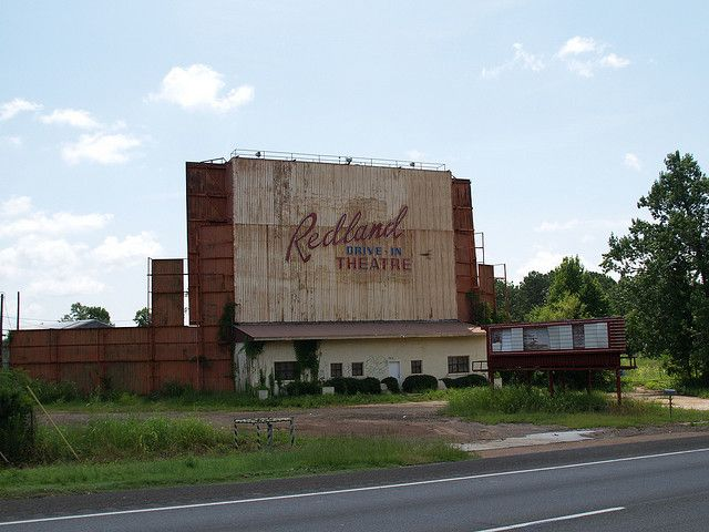 lufkin texas old small town building and drive in movie