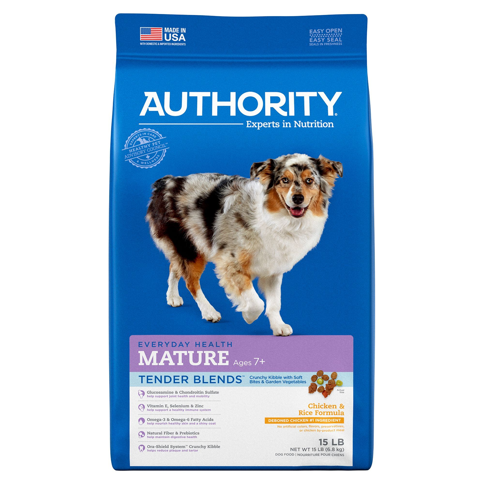 Authority Tender Blends Mature Adult Dog Food - Chicken & Rice