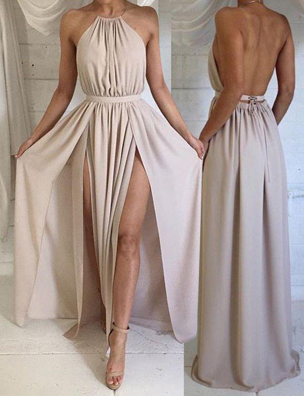 sexy lang chiffon neckholder r ckenfrei ballkleid prom clothes and fashion. Black Bedroom Furniture Sets. Home Design Ideas