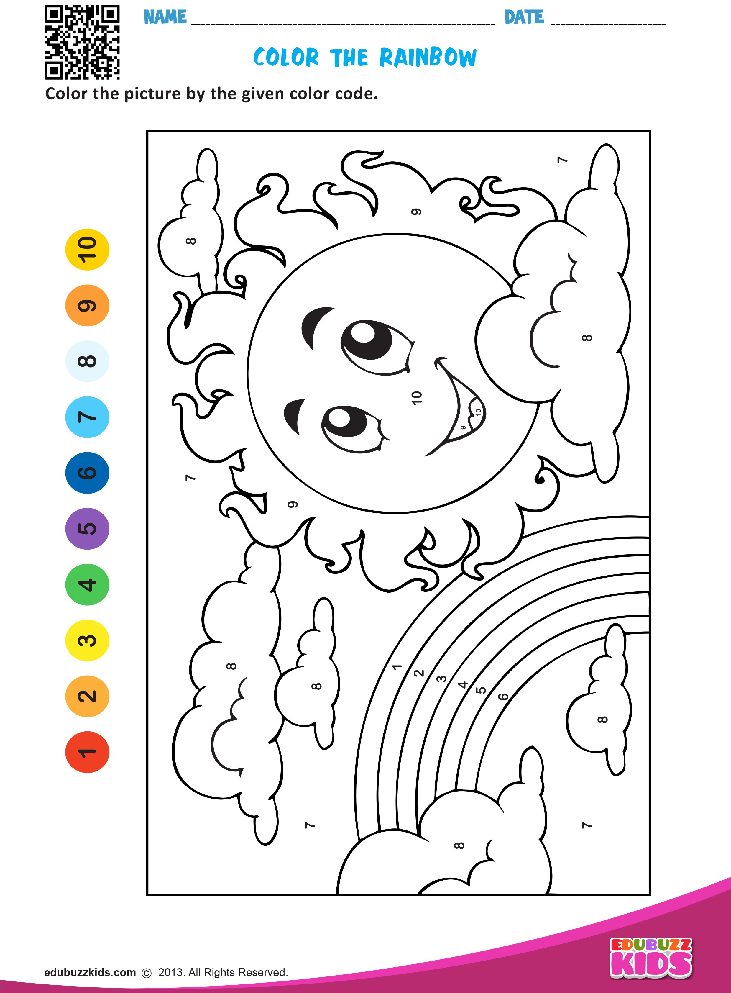 Printable maths color by number worksheets for preschool