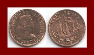 1959 LOT OF 2 Uk England GREAT BRITAIN Half Penny Coins