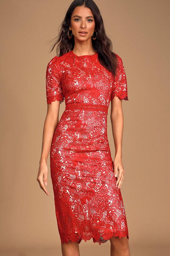 Amore Red Crochet Lace Short Sleeve Midi Dress In 2020 Midi Short Sleeve Dress Red Lace Dress Trendy Lace Dresses