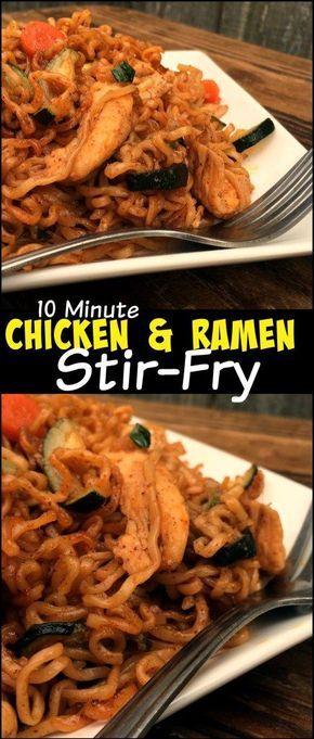 This 10 Minute Chicken & Ramen Stir-Fry will absolutely eliminate your need for Chinese take out! Even on the busiest nights! The fastest, easiest weeknight meal EVER! We absolutely LOVE the flavor of this dish! It's got everything: protein, veggies and noodles!
