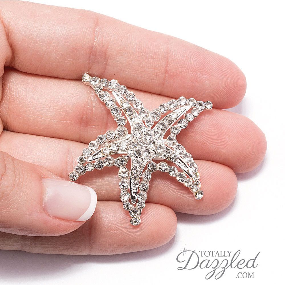 Crystal starfish brooch 415-s
