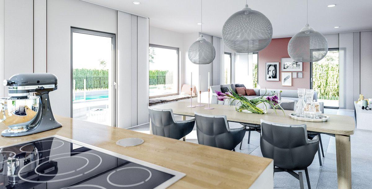 Wohnideen Offene Küche Mit Esstisch Und Wohnzimmer   Haus Concept M 167  Bien Zenker   Inneneinrichtung Modern Grau Weiß Rosa Holz   HausbauDirekt.de