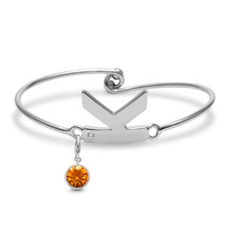 Initial Bangle Bracelet With White Crystal and Citrine Crystal Birthstone, For November Babies