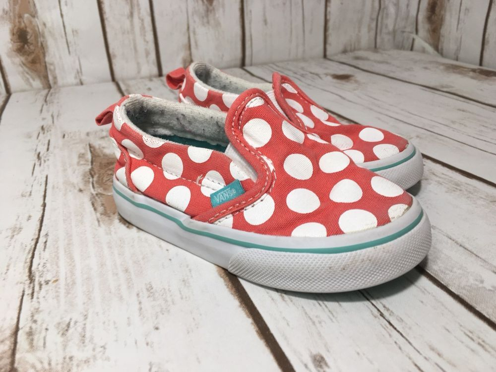 1bfab7e2553 Vans CLASSIC SLIP ON Polka Dots Girls Toddler Shoes Size 6 ...