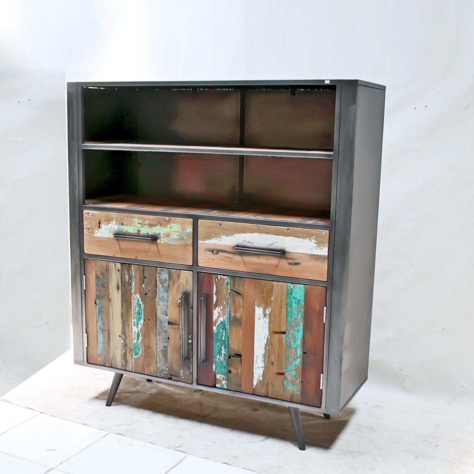 Meuble Industriel Armoire En Metal Et Bois De Bateau Style Loft Armoire En Bois Mobilier De Salon Meubles En Bois De Palettes