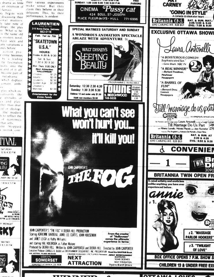 The Fog  Newspaper Ad Micahs Mausoleum Horror Newspaper Ads
