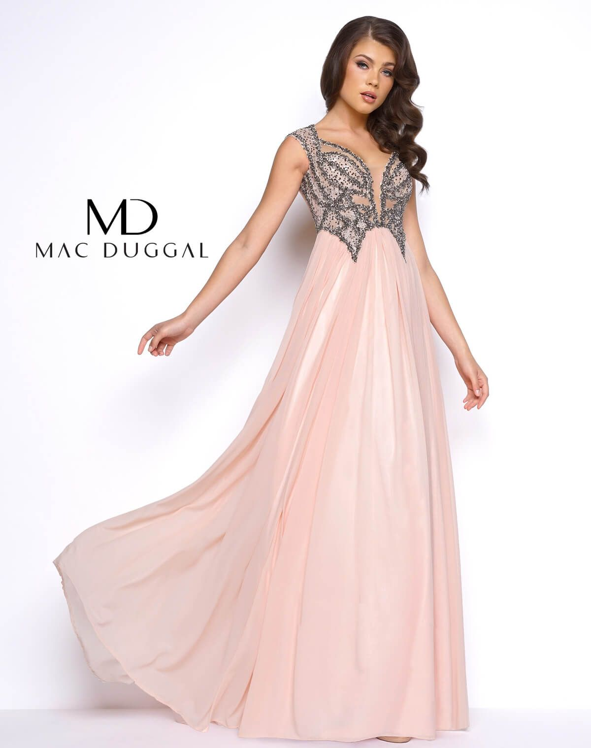 Mac duggal new coming beads embellished long aline prom dress style