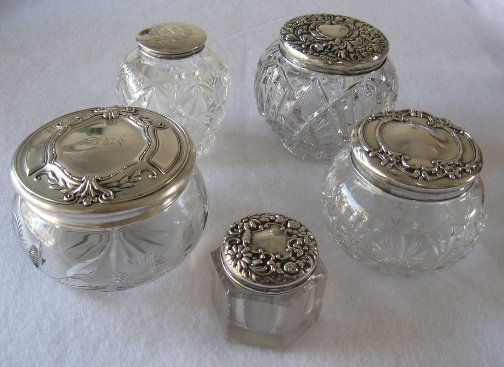 Vintage Etched Glass Dresser Containers Vintage Sterling