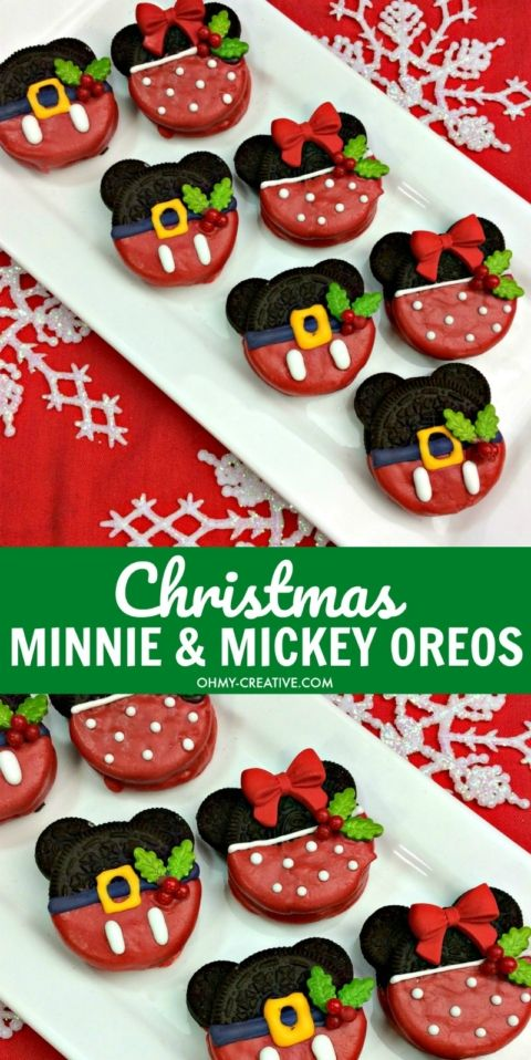 christmas minnie and mickey mouse oreos recipe mickey mouse oreos mickey mouse snacks and mickey mouse theme party - Mickey Mouse Christmas Cookies