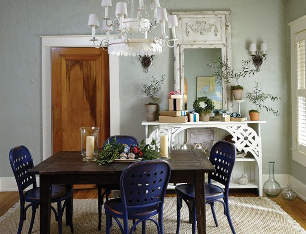 Presents And A Bowl Of Eclectic Ornaments Dress Up The Dining Room. #easy #