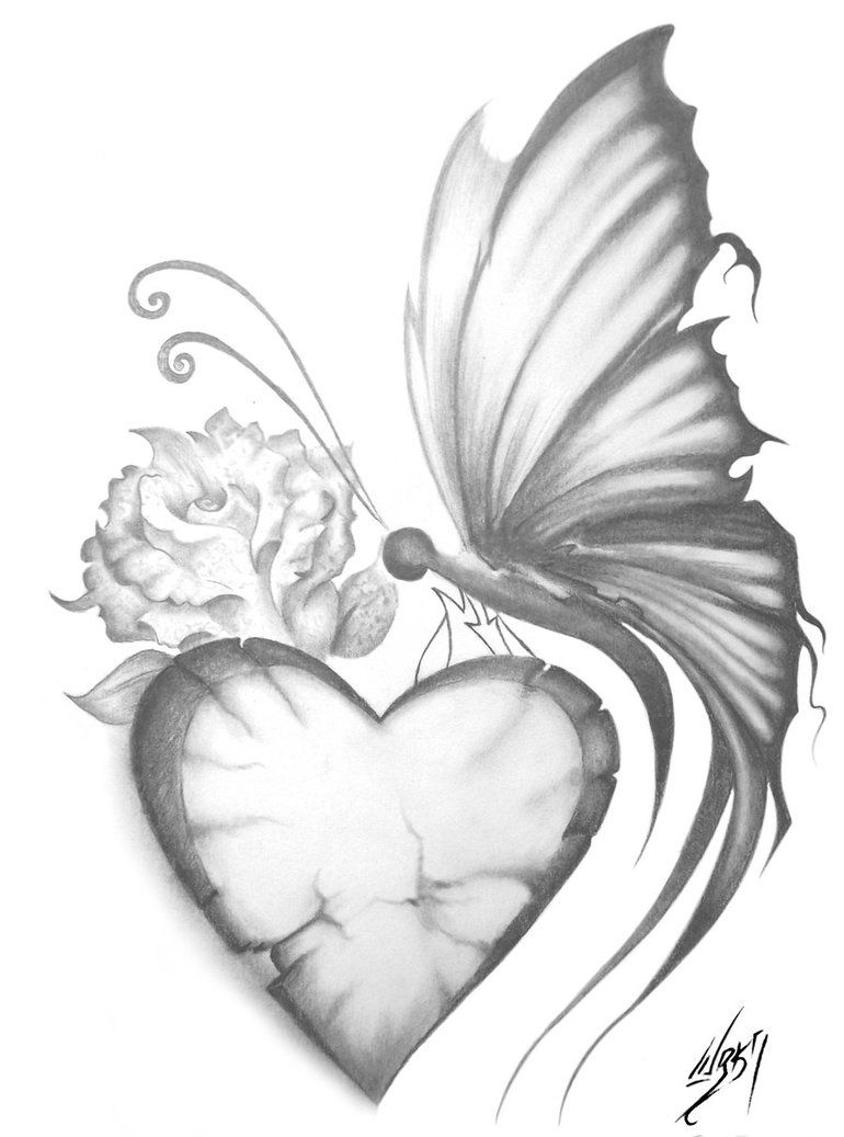 Butterfly heart butterfly drawing flowers sketches drawings tattoos art