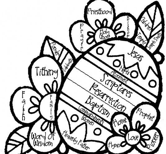 general conference easter egg coloring page - Lds Easter Coloring Pages