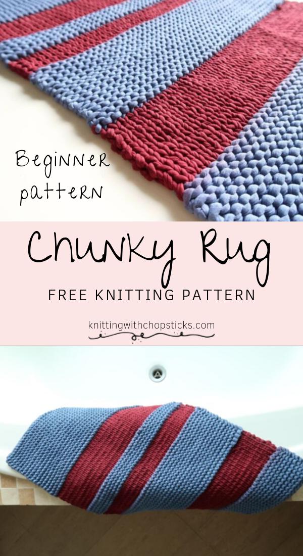 Chunky Knit Rug Pattern Knitting With Chopsticks Knit Rug
