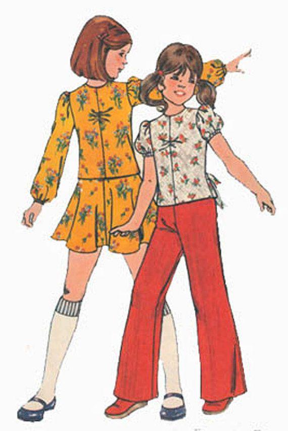 Vintage 1970s Girls Boho Top, Pants and Flip Skirt Sewing Pattern ...